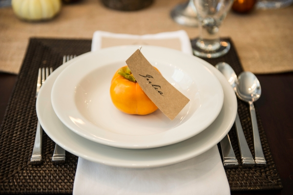 Fall Fete Dinner Party - Persimmon place card holders | Edit by Design