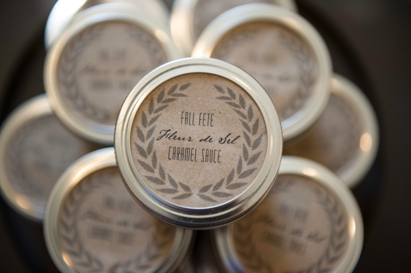 Salted caramel sauce in tiny mason jars   Edit by Design